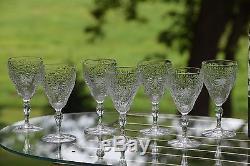 Vintage CRYSTAL Etched Wine Glasses, Set of 8, Vintage Claret Wine Glasses
