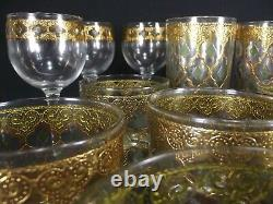 Vintage CULVER VALENCIA Gold Green Diamond high low ball wine glasses 17 PIECE