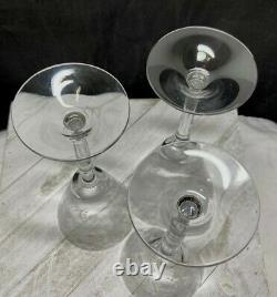 Vintage Cambridge Glass Rose Point Water Goblet/Wine Stem # 3106-Rare-Set of 3