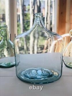 Vintage Carboy Blue 5 Gallon Glass Wine Bottle Jug DemiJohn Water Antique Green