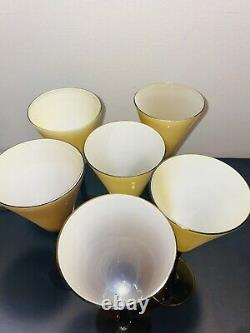 Vintage Carlo Moretti Murano Amber Wine Champagne glasses set of 7