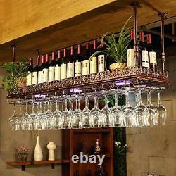 Vintage Ceiling-Mounted Bar Wine Rack Wine Glass Hanging Shelf Restaurant Copper