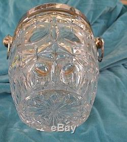 Vintage Champagne Wine Bucket Pressed Glass & Silverplate w O Ring Handles
