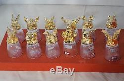 Vintage Chinese Zodiac Animal Head Shot Glass 12 Suit With Gift Box Wine Cup