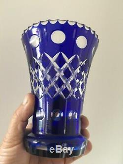 Vintage Cobalt Blue Bohemia Cut to clear Crystal Vase