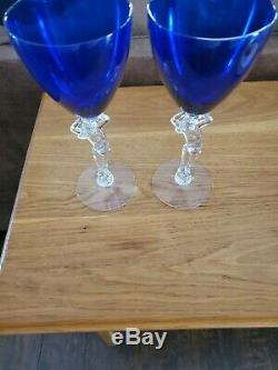 Vintage Cobalt Blue Cambridge Glass Wine Goblets Nude Stems Set of 2