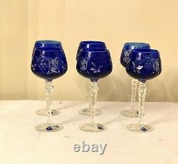 Vintage Cobalt Blue Crystal Glass Wine Water Goblets Cup Set of 6 Stems 8