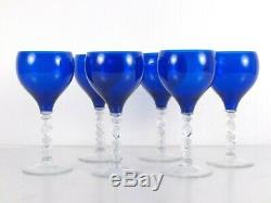 Vintage Cobalt Blue Crystal Glass Wine Water Goblets Set of 6 Ornate Stems 8