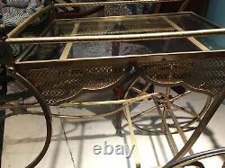 Vintage Continental Rococo Solid Brass Bar Cart with Glass Trays And Wine Holder