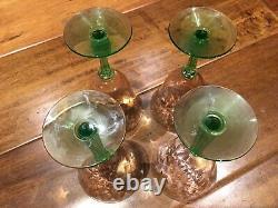 Vintage Cordial DEPRESSION Uranium Tiffin WATERMELON Glass 5 1/2 Diamond Set 4