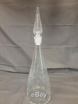 Vintage Crackle Glass Clear Genie Bottle Wine Decanter