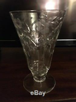 Vintage Crystal Champagne/Wine/Water Etched Glasses Set of 24. Elegant & Opulent