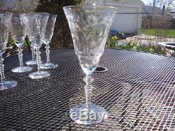 Vintage Crystal Wine Glasses 6 Christmas Etched Optic Glass Hand Cut Stem