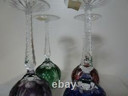 Vintage Crystal Wine Glasses Cut to Clear Multicolored Set of 4 Park Ave Hungary