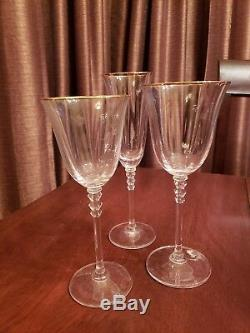 Vintage Crystal Wine Glasses Lot 24k Gold Rim Stunning Set of glasses