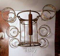 Vintage Culver Valencia 6 Wine Glasses & Double Wine Bottle Metal Caddy Holder