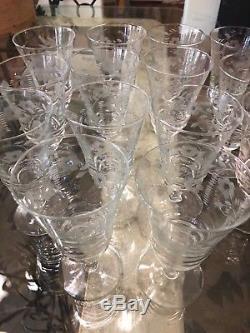 Vintage Cut Crystal Set of 14 Water/Wine Goblet Glasses 6.25