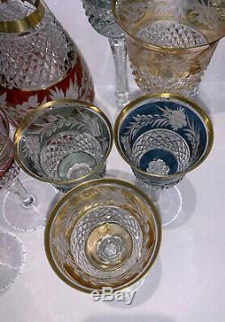 Vintage Cut to Clear Bohemian Crystal Wine Glasses and Decanter, Set of 13