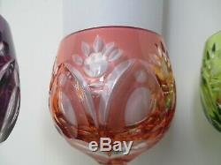 Vintage Cut to Clear Crystal Wine Glasses Goblets Czech Bohemian Colored