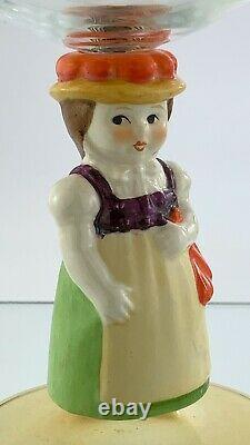 Vintage Dolly Dingle Goebel Wine Glass Stem German Hand Painted Stemware U925