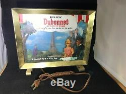 Vintage Dubonnet Wine Ad Sign Light Box Glass Brass Graphics