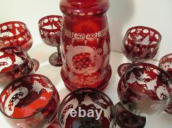 Vintage EGERMANN RUBY RED Bohemian Czech Art Glass WINE DECANTER & 8 GLASSES