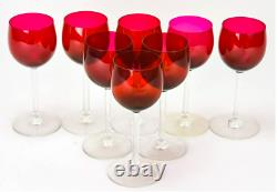 Vintage EIGHT (8) Baccarat Crystal Ruby RHINE Montaigne Wine Glasses France