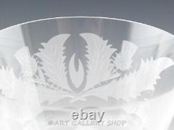 Vintage Edinburgh Cut Crystal THISTLE 7.5 WINE WATER GOBLETS GLASSES Set 2 Mint