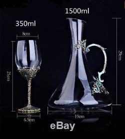 Vintage Enamel Swarovski Crystal Cups Red Wine Glass Decanter Set Goblet Gifts