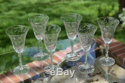 Vintage Etched Wine Glasses, Set of 6, Tall Etched Etched Stem Wine glasses