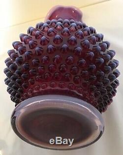 Vintage Fenton Art Glass Plum Opalescent Hobnail Decanter & 3 Wine Glasses