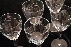Vintage Floral Etched Crystal 11 Wine 5 Champagne Tall Sherbet Matched Stemware