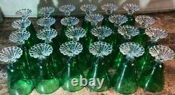 Vintage Fostoria Colonial Dame Emerald Green Wine Stems Fruit cocktail Glass 24