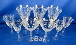 Vintage Fostoria Crystal Stemware Romance Pattern 2 Champagne/4 Cordial/3 Wine