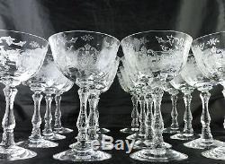 Vintage Fostoria Navarre Champagne/wine/cocktail Glass Set 16 Flower Swag Optic