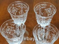 Vintage Fostoria Navarre Clear Water/wine Goblet Set Of 4 7 3/4 Inches