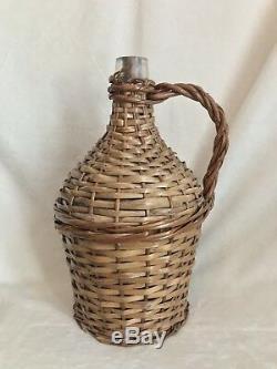 Vintage French Glass Demijohn Wine Bottle Wicker Rattan, 13 Tall