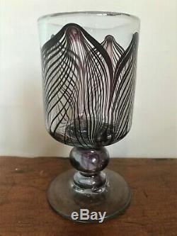 Vintage George Elliott Studio Glass Goblet Signed & Dated 1977