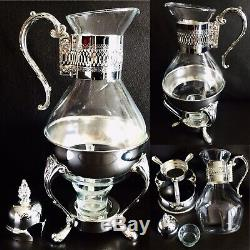 Vintage Glass & Silver Plated Coffee Carafe / Mulled Wine Pitcher & Warmer Stand
