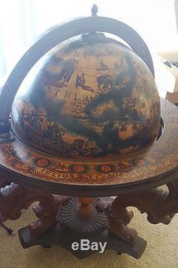 Vintage Globe Bar Cabinet Cart Wine Rack Liquor Whiskey Gl Storage Table