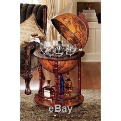 Vintage Globe Eucalyptus Bar Drinks Cabinet Wine Glass Bottle Rack Rolling Cart