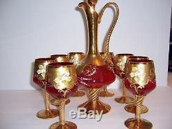 Vintage Gold Murano Venetian Hand Painted Scene red wine set 24k gold layer