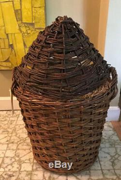 Vintage Green Glass Demijohn Wine Bottle in Wicker Basket Glass Carboy 25