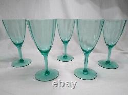 Vintage Green Uranium Glass Wine Goblets Set of 5 Scalloped Walls