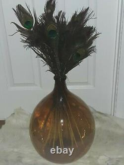 Vintage Hand Blown Brown Glass Demijohn Carboy France French Wine Jug Bottle