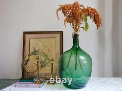 Vintage Hand Blown Large Green Glass Demijohn French Glass Wine Jug Home Decor