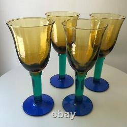 Vintage Handblown Glass Wine Water Goblet Glasses Amber Yellow Green Blue 8 oz