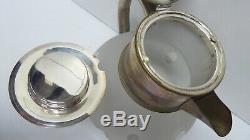 Vintage Heavy Cut Glass Silver Plated Italian Wine Jug Ice Chiller Insert