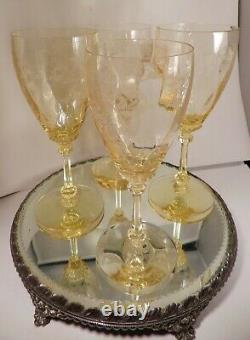 Vintage Heisey Old Colony Yellow Water Wine Goblet Set Of 4,8, Stem #3380
