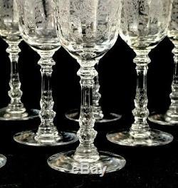 Vintage Heisey Orchid Etched Elegant Glass Lot of 8 Wine Glasses Stemware B10